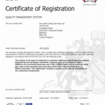BSI ISO AS 9001 quality certificate for Accurate Cutting Services