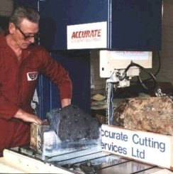 Bandsawing meteorites - Nantan Meteorite after being cut